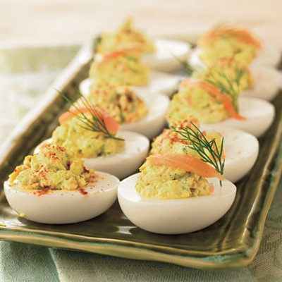 Salmon filled eggs
